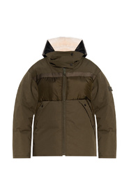 Down jacket with leather insert