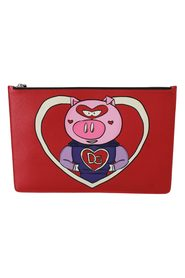 Red Year of the Pig Leather Documents Pouch