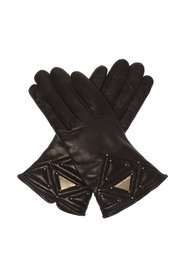 Leather gloves with logo