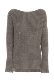 RIBBED SWEATER BOAT NECK PAILLETTES
