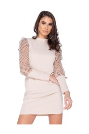 Polka Dot Sheer Puffed - Bodycon Mini Dress