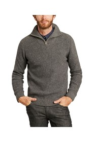 Valley zipped collar organic cotton and organic wool sweater