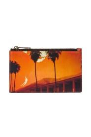 Porte carte monnaie imprimé palmiers