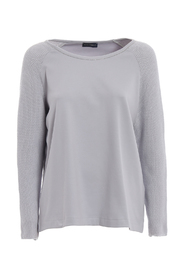 Round neck sweater with metallic detail