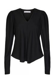 Pure V-neck Puffy Blouse