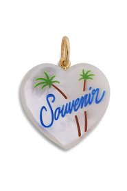 Souvenir Heart with enamel, mother of pearl pendant with enamel, gold-plated sterling silver