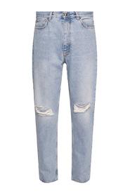 Distressed high-waisted jeans