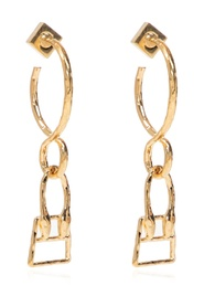 Brass earrings with charm