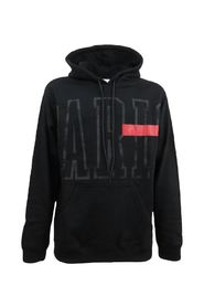 Black men's sweatshirt with hood and red band