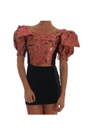Puff Sleeve  Brocade Cropped Top