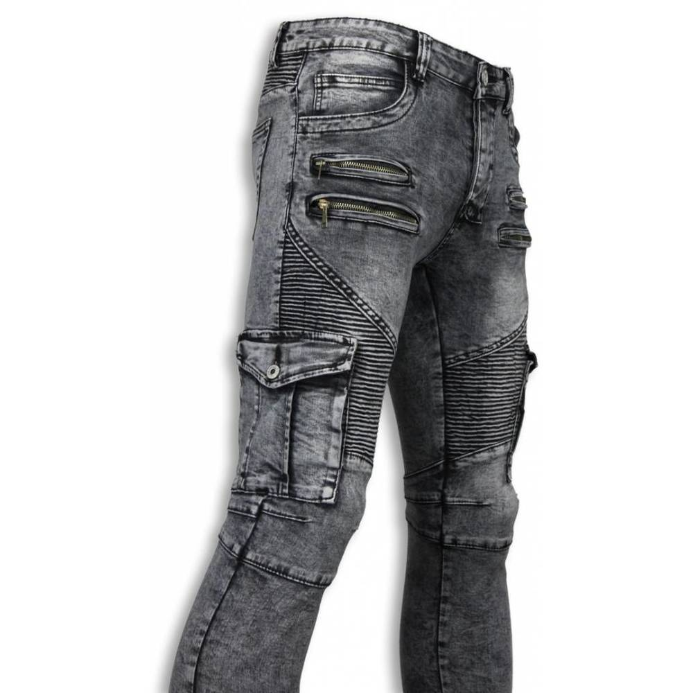 Biker Jeans - Slim Fit Biker Jeans Side Fickor & Zippers