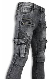 Biker Jeans - Slim Fit Biker Jeans Side Pocket & Zippers