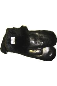 Varm og behagelig handske med kaninpels. Sort