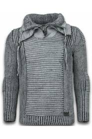 Knitted Men's Pullover Double Scarf Collar Zipper