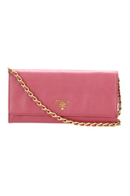 Pre-owned Saffiano Leather Wallet on Chain