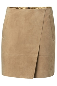 YAYA - Leather wrap skirt suede - Dark Beige