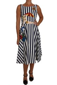 Striped Embroidered Beach Dress