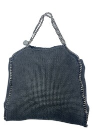 Woven tote bag with silver hardware chain