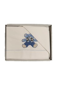 COTTON SHEET WITH EMBROIDERED BEAR