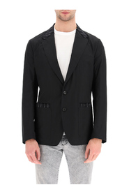 tailored blazer in cotton and pinstripe wool