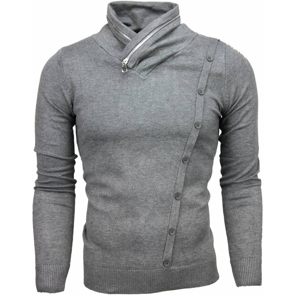 Casual Pullover Col Collar Zipper Design Knappar
