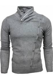 Casual Pullover Col Collar lynlås Design Buttons