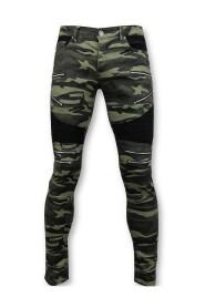 Luxe Army Style Heren Biker Jeans Zip