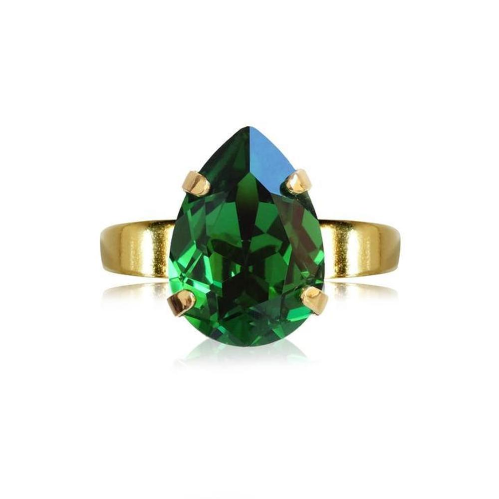 Caroline Svedbom Mini Drop Ring Moss green gold
