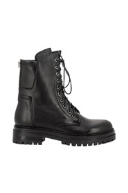 Combat boots with double zip