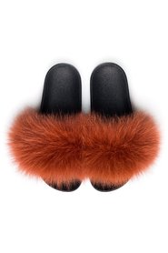 FOX FUR SLIPPERS COPPER