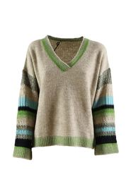 women's sweater with green and blue stripes