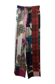 Multicolor Silk Palazzo Trousers Size 42 IT