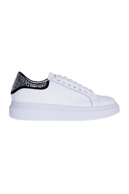 Leather sneaker with rhinestone heel