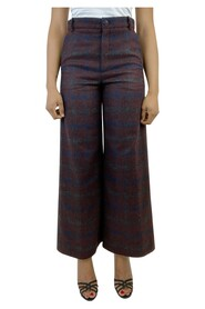 pre-owned check wide leg check trousers