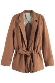 Maison Scotch Tie Belt Linen Blazer