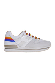 Sneaker h222 in suede and fabric with rainbow heel