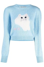 WOOL CROPPED JUMPER WITH CAT INTARSIA
