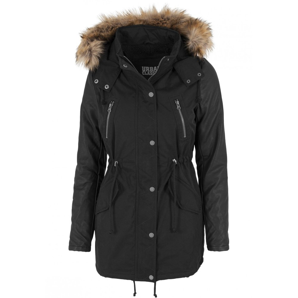 9810eabb Urban Classics BLACK/BLACK Ladies Leather Imitation Sleeve Parka Vinterjakke