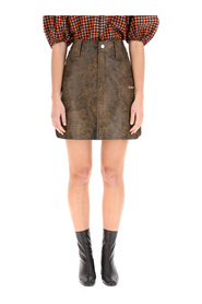 Mini skirt in vintage leather