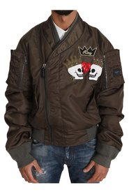 Beaded Crown Skull Applique Logo Jacket