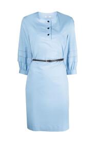 Pleated-sleeve midi dress