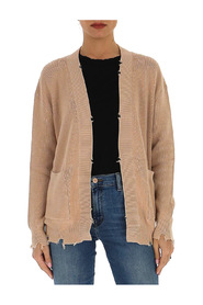 distressed open-front cardigan