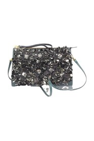 Flower-Embellished Oversized Leather Bag -Pre Owned Condition Very Good