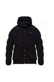 Quilted jacket with hood and branded plate