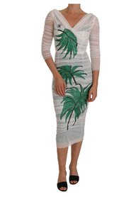 Stretch Bodycon Crystal Leaf Dress