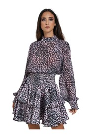 DRESS WITH FLOUNCES AND SPRING AT THE WAIST