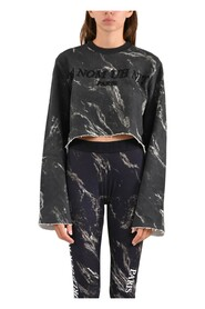 Felpa cropped marble all over printed whit logo