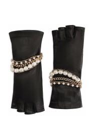 Nappa leather gloves with bejeweled bracelet embellishment