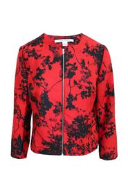Print Jacket With Zipper Along Front