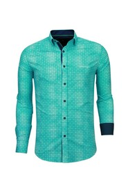 Italiaanse Overhemden - Slim Fit Overhemd - Blouse Flower Icon Pattern